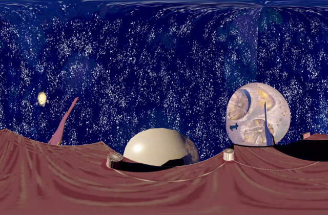This is a 3D animation of a satellite moving around the Psyche asteroid. The textures of the satellite, the asteroid, and the background were digitally painted. The animation is in 360 format, so the viewer is immersed and can look around. In the background, stars, the sun, and planets are seen. The sun emanates light and illuminates the asteroid. As the satellite moves around the asteroid, a shadow is cast upon it.