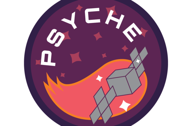 """A circular patch depicting the Psyche spacecraft moving through space with the text """"Psyche"""" above it written in white. The spacecraft is followed by a tail of pink and orange. The badge is purple and covered in white and pink stars."""