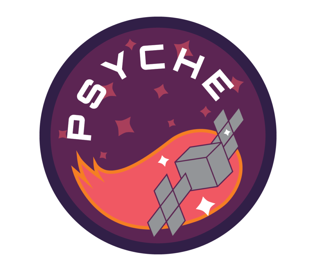 "A circular patch depicting the Psyche spacecraft moving through space with the text ""Psyche"" above it written in white. The spacecraft is followed by a tail of pink and orange. The badge is purple and covered in white and pink stars."