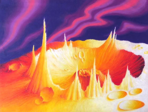 Large peaks rise around edges of a large crater in the center of the piece with small craters surrounding it. Illuminated, the detail of the craggy texture of Psyche's landscape is emphasized. Shades of white, yellow, and orange create the highlights. Shades of reds and purples form the shadows of the peaks and craters. Purple and pinks waves of light fill the void surrounding the landscape.