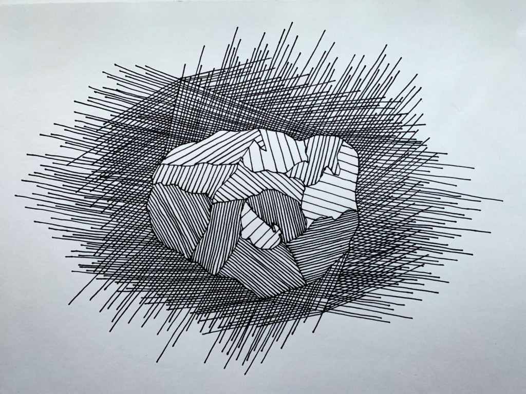 This piece is a simple representation of Psyche with an emphasis on rays of light surrounding the asteroid. The rays extending out from Psyche represent the many different angles from which the asteroid will be observed and analyzed. Lines from varoious angles are drawn to show the Psyche asteroid in all its glory.