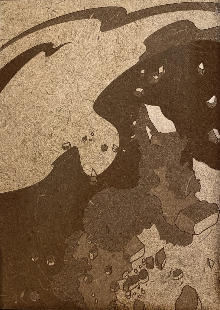 This piece utilizes four shades of a color from the original brown masonite. Psyche is depicted in the lightest shade of brown, and the background (outer space) is the darkest shade of brown. These dark brown areas of the engraved piece are cut a layer deeper into the masonite compared to the other lighter shades of brown. Psyche is seen exploding in the lower right-hand corner, fragmenting into chunks and shards.