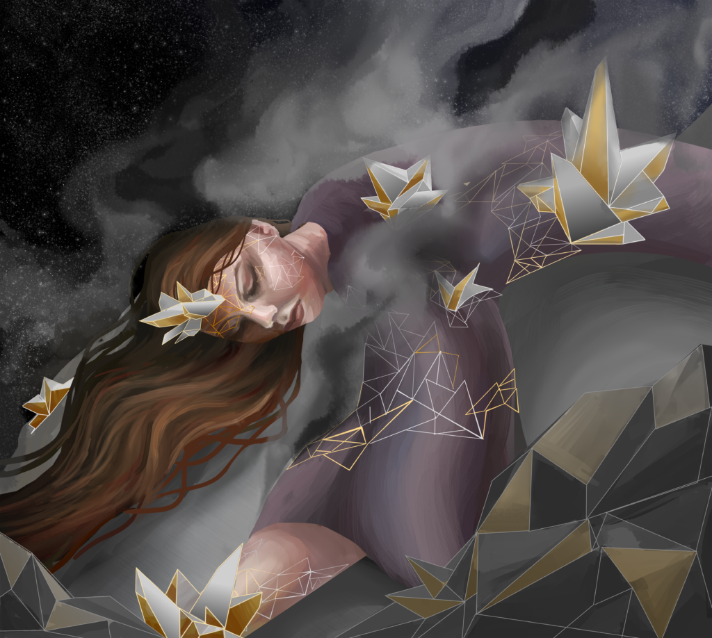 Psyche the goddess is pictured with brown hair and a purple flowing dress lying on top of the metallic core of the asteroid with dark smoke surrounding her after various collisions. Gold and silver crystallization emerges out of the figure, representing different materials thought to form Psyche. Behind the smoke is the black galaxy with faint stars. In the front are metallic grey rocks with gold parts scattered throughout.