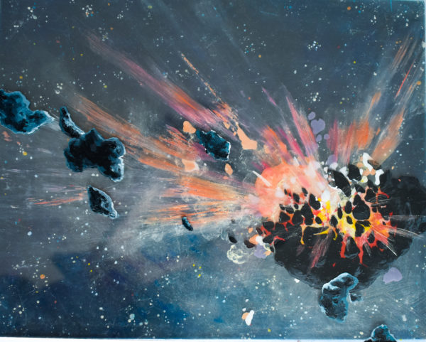 This is a small, reflective, blue tinted painting. In the lower right-hand quadrant of the piece, a smaller orange meteorite hits the dark silhouette of 16-Psyche. Leading lines of white, gold, red, and orange radiate outward from the impact. Rocks are scattered along the lines and appear to be closer to the viewer. In the background, there are many multicolored stars.
