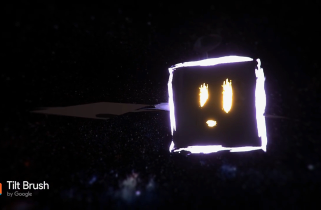The black void of space is quickly filled with a time-lapse of a virtual asteroid being digitally drawn. A small satellite with a curious look on his face glows a neon purple and looks at the asteroid from afar. The dark space is full of stars, and the sun can be seen in the far off distance, casting a lens flare over the view. The camera flies by the asteroid and satellite before it fades to darkness.