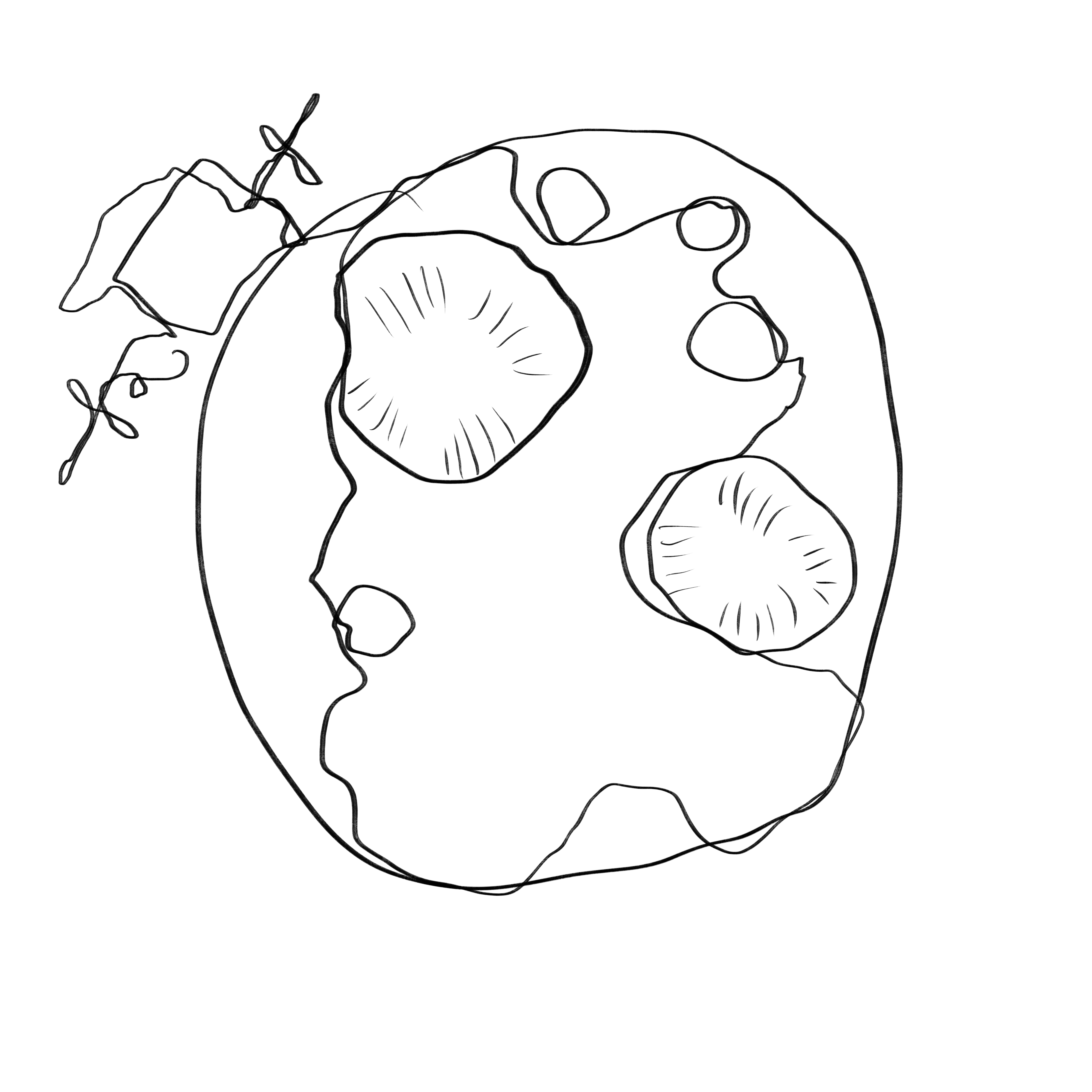A simple pencil drawing of psyche the asteroid and spacecraft