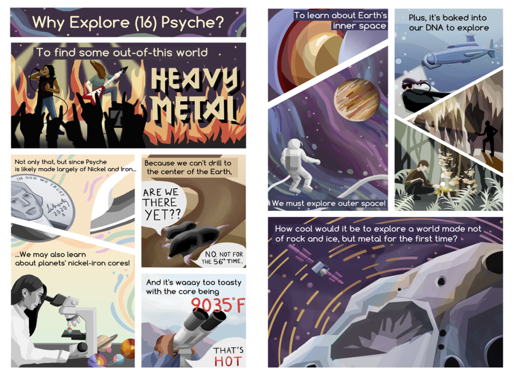 "The educational comic explains the relevance of the Psyche Mission: exploration and the opportunity to potentially gain insight on planetary cores. The information is delivered in a light-hearted manner with jokes like the ""That's Hot"" meme. Exploration is pictured as space, deep-sea, cave, and forest exploration. The illustrations in the comic are done in a clean graphic style, similar to the styles found in editorial illustrations."