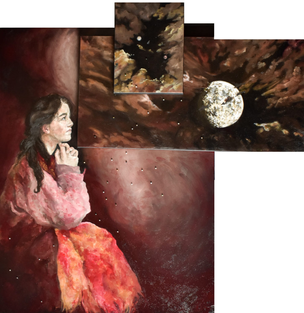 There are three canvases of increasing size top to bottom. The lowest shows a woman wrapped in a blanket and stargazing. She is surrounded by decorative jasper beads adhered to the canvas. The second panel is oblong and shows a waxing gibbous moon, as well as some clouds. The third panel shows the asteroid (16) Psyche between the planets Jupiter and Mars. All three panels are done primarily in shades of yellow with occasional accents of red.