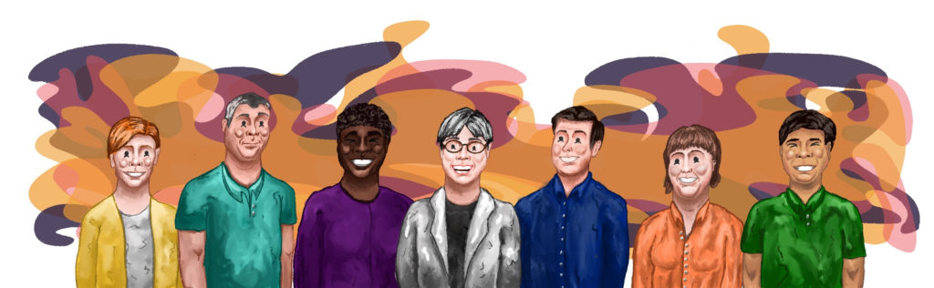 This piece is a Procreate image that shows seven Psyche team members standing next to one another. The back is decorated in an amorphous blob of colors reminiscent of Psyche's logo. The individuals depicted have a cartoon-like character about them.
