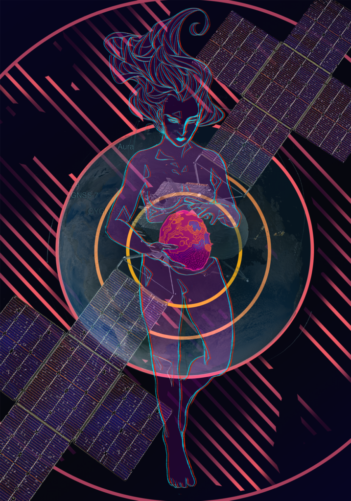 The goddess Psyche floats translucent and nude in space. Her body is split horizontally to reveal the asteroid Psyche in her core, which she cradles. Behind her are the satellite Psyche and the planet Earth. All subjects are framed within the bullseye-styled orbit pattern the satellite will use during the mission. Colors are vibrant and glowing, and diagonal dashes streak the background.