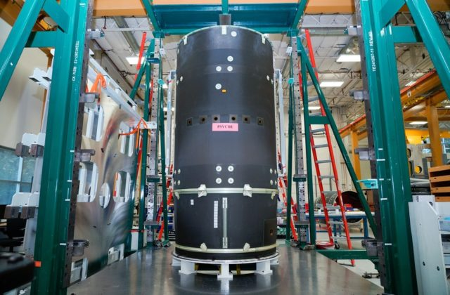 Psyche's spacecraft body being tested at Maxar's Palo Alto, California manufacturing facility.