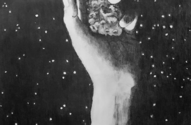 This graphite piece includes a black background with small glistening stars. From the bottom of the image, a human arm with a small tattoo of the Psyche spacecraft protrudes and loosely grasps the asteroid. The sun, which is out of frame, casts light onto some parts of the arm and asteroid while other parts remain coated in dark shadows.
