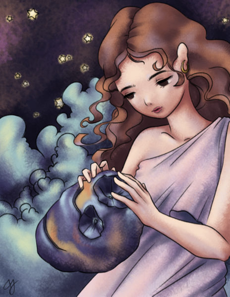 In this piece, Psyche the goddess is caressing the asteroid 16-Psyche. The entire piece is digitally created, but it has a grainy finish, reminiscent of pencil markings. The color scheme is centered around pinks and purples.The goddess wears a light pink dress and has curly brown hair, whereas the asteroid is deep purple with blue and orange highlights. The background is composed of tiny stars and bulbous blue clouds.