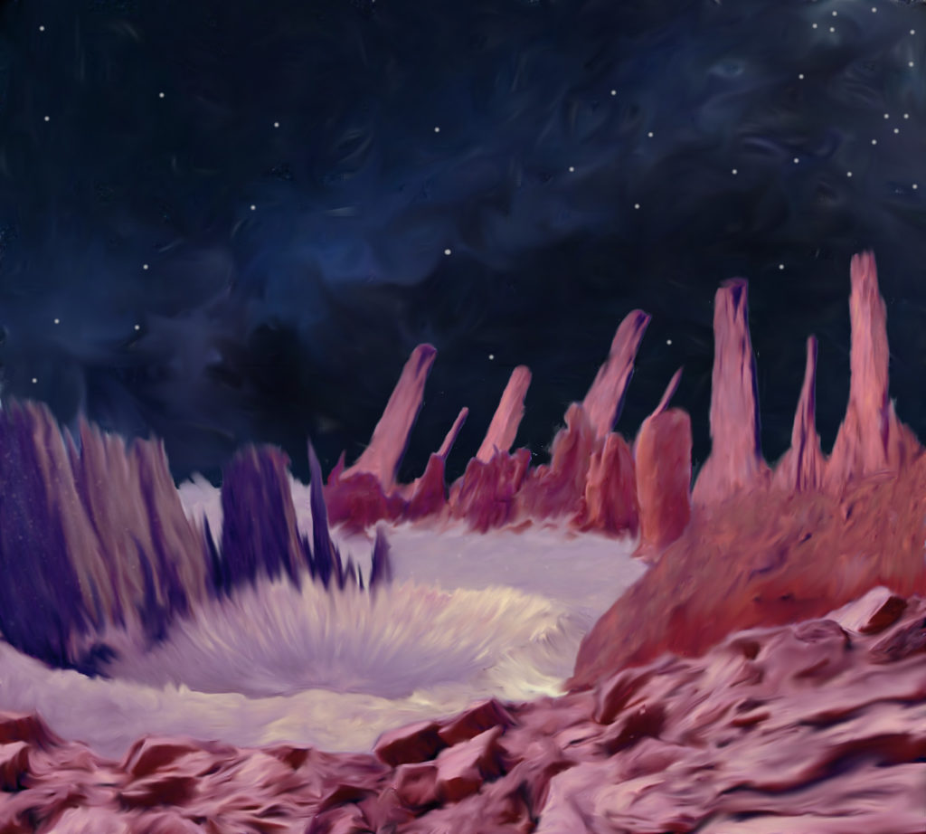 This image shows a crater on the Psyche Asteroid in color using different brush strokes that in various shades of purple.