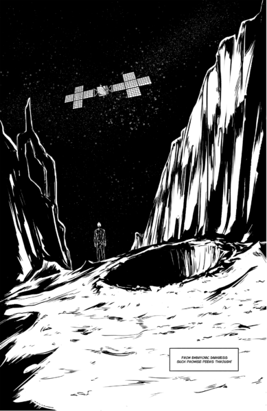Beyond the crater is a clearing that the explorer now stands in. He gazes at the stars and approaching the Psyche satellite.