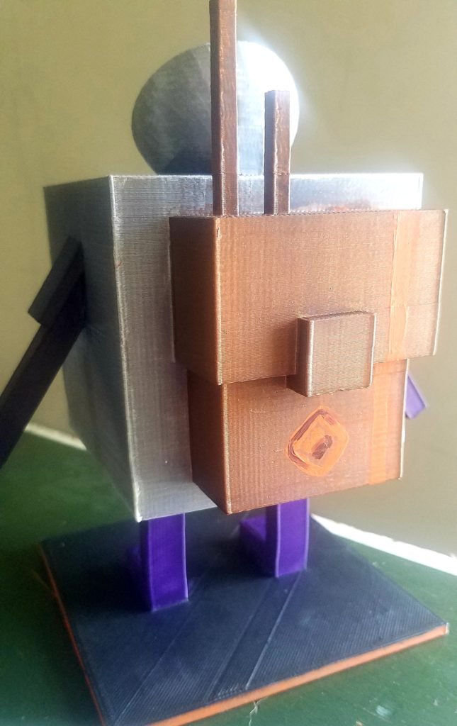 A square silver cube figure with purple rectangular arms and rectangular body stands on a table looking out a window. It has a satellite dish as a hat and wears a bronze painted cube backpack. There is a lens flare casting light into the room onto the figure's face as it looks at a tree in the distance.