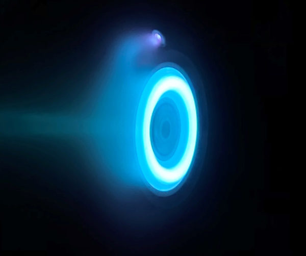 Blue halo glow is produced by the xenon propellant, a neutral gas used in car headlights and plasma TVs.