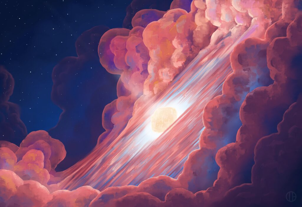 Billowing clouds of pink, purple, and blue ring a glowing asteroid, cut through by a pillar of bright light. The scene is backdropped by the rich, dark blue void of space, sprinkled with stars.