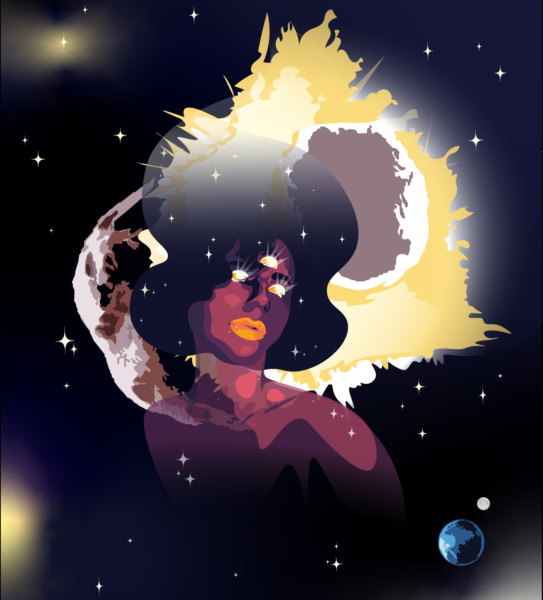 In the center of the image is a portrait of a woman, a representation of life and Psyche, that is slightly see through with pink and purple colors. Behind the woman light shines from a collision of two asteroids. The background is a dark blue with other colors within in representing light and stars. In the bottom right corner is the Earth and Moon.