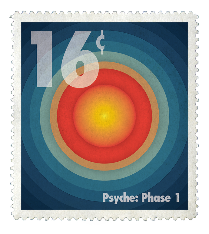 """""""In a retro, but futuristic aesthetic, eight stamps depict the formation of the Psyche asteroid after a hypothesized collision stripped it of its outer mantle and crust, leaving behind a metallic core. Simple line strokes and geometric shapes form the different Psyche phases in a bold primary color palette to bring the design to life. The postage stamps are combined together to create a Book of Stamps, with a tag attached at the top with Psyche's Logo, name of the stamp collection """"The Formation of Psyche"""", and a barcode. The numbers on the bar code illustrate the start and end dates of this flight mission by month and year. """""""