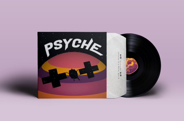 """A 3D mockup of vinyl album artwork inspired by the Psyche mission. The word """"Psyche"""" hovers in star-filled space over a sphere made out of pink, yellow, purple, and orange layers on the vinyl cover. In the middle of the sphere, there is a silhouette of the Psyche spacecraft also filled with stars. On the vinyl record is a purple, yellow, orange, and pink asteroid."""
