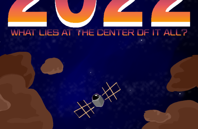 A movie poster with a deep blue backdrop adorned with scattered stars. Centered is the Psyche spacecraft floating above the Psyche asteroid, both of which are below a large purple, pink, orange, and white gradient 2022.