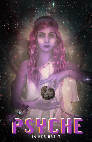 The psyche goddess is shown encompassing the asteroid with the spacecraft orbiting around her in a field of stars.