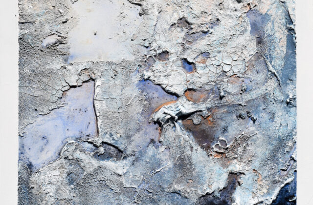 A canvas spread with sand, cement paste, and acrylic and watercolor to create craters, peaks, and cracks reminiscent of the asteroid's surface. Soft whites, blues, and browns are layerered with gold and copper metal paint.