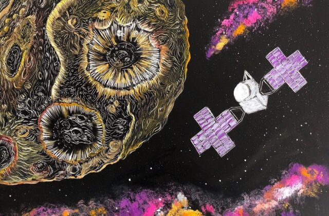 A 9 x 12 scratchboard embed with the drawing of Psyche and its satellite. To highlight the metallic texture and the colors of the Psyche mission, Psyche is contoured in a diluted gouache paint, and a more opaque form of the gouache paint in the mission's colors depict the satellite and the galaxy clouds.
