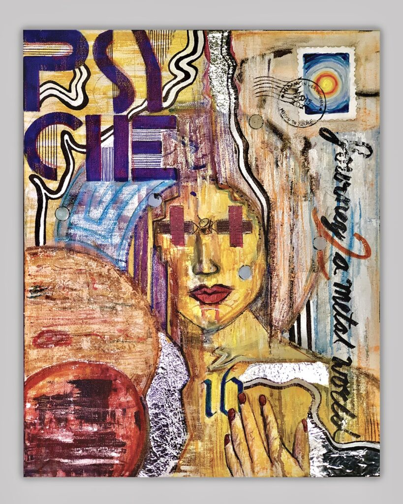 """At the center of the piece, a close, semi-transparent portrait of Psyche with the universe and Psyche mission motifs surrounding her in an expressionist style. The portrait of the goddess is painted bright yellow, with contrasting orange and purple for undertones and shading. In place of eyes, there is an abstract drawing made out of marker and colored tape of the Psyche mission spacecraft. Surrounding her face, the projected flight overview of the spacecraft is painted in a spiraled motion further into the solar system. The top left corner has the word """"Psyche"""" broken up by syllables in blue letters with textured yellow/blue background and black/white wavy lines. The top right corner has a neon orange, black, and white line textured background with the first phase postage stamped. On top of the stamp, """"Madam in her Universe"""" is written on the top while """"Mission to Psyche"""" is on the bottom, and """"2015-2027"""" in the middle. Under the stamp the Psyche Mission tagline, """"Journey to a Metal World"""", is written vertically in cursive along a blue and white background to the bottom right corner, with the word """"to"""" replaced for the number """"2"""" in orange. The bottom right corner has the yellow shoulder of the Goddess with her hand on her chest, with her hand touching the number """"16"""" in blue on her heart. There are pieces of tin foil overlapping her body with white and black wavy lines. The bottom left corner has the planets Jupitar and Mars bleeding off the canvas and covering the goddess's left shoulder. Mars is in front of Jupiter and there is aluminum foil outlining Mars."""