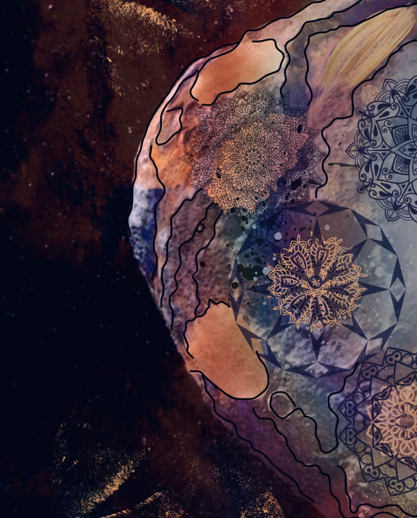 The Art of an Asteroid is a digital illustration showcasing the Psyche asteroid in an artistic view. The asteroid has layers of metallic colors, dark mandala patterns placed in areas of craters, and a defined outline drawn on edges and the main curves of the asteroid.