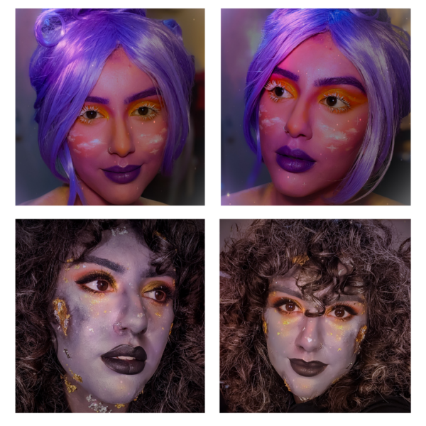 One makeup look with pink, purple, and tints of yellow and orange (goddess look), and another with a base of grey and gold leaf with sculpted craters (asteroid).