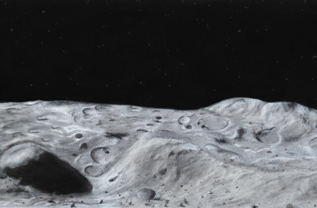 Pictured is a black and white drawing of the surface of Psyche. The surface is filled with craters and rocks. Past the surface is a black sky with stars. The drawing is from the viewpoint of a person standing on Psyche's surface and looking out into space.