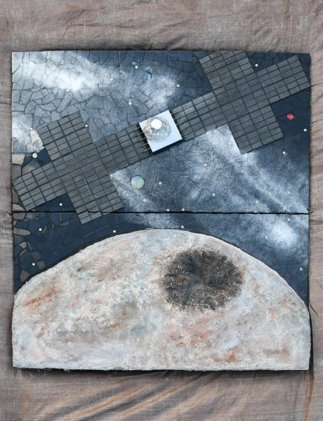 A mosaic showcasing the Psyche spacecraft approaching the Psyche asteroid.
