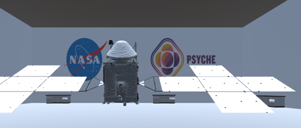 Image displays the final setup of the web based game, with spacecraft components assembled