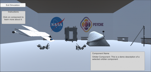 Image displays the initial setup of the web based game, with spacecraft components disassembled