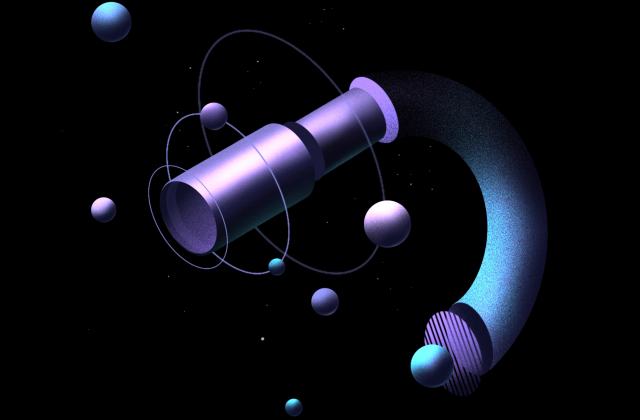 Three illustrations showing different instruments on the Psyche spacecraft. There is a multispectral imager, a gamma ray and neutron spectrometer, and a magnetometer. The illustrations are made of purple and blues, surrounded by spherical elements representing molecules.