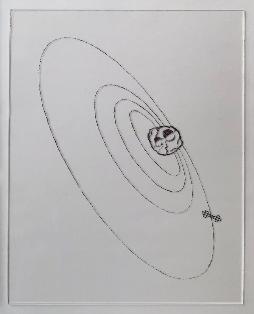 This piece consists of four parts, each made of plexiglass with black ink. Dimensions are 8 inches by 10 inches, 8 inches by 10 inches, 8 inches by 2 inches, 4 inches by 10 inches. Pointillism builds the form of the Psyche logo, the spacecraft, the orbits of the spacecraft around the asteroid, and an imagining of a crater on Psyche's surface.