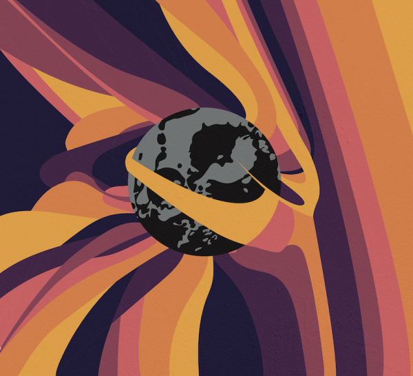 Purple, yellow, orange, and pink lines are drawn around the Psyche asteroid, which is conveyed by a sphere in the middle of the piece. The Psyche asteroid is black and grey, with details of craters and shadows.