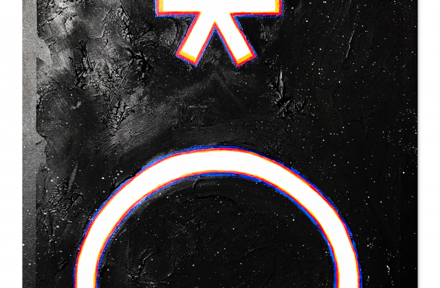 This piece titled depicts the the symbol of the (16) Psyche asteroid. The symbol is in a bold white font wrapped with the three primary colors, red, yellow and blue. These colors give a sense that the symbol is slightly vibrating. The background is painted black with little white stars, representing space and the infinite universe behind it. The painting in size is 36 x 28, and it has a rough texture to compliment the black space around the symbol.