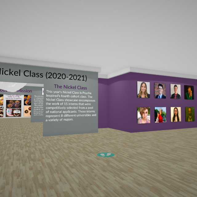 A screenshot of the 3D virtual gallery for the Psyche Inspired Showcase. It shows a 3D room with artworks and artist photographs on the walls.