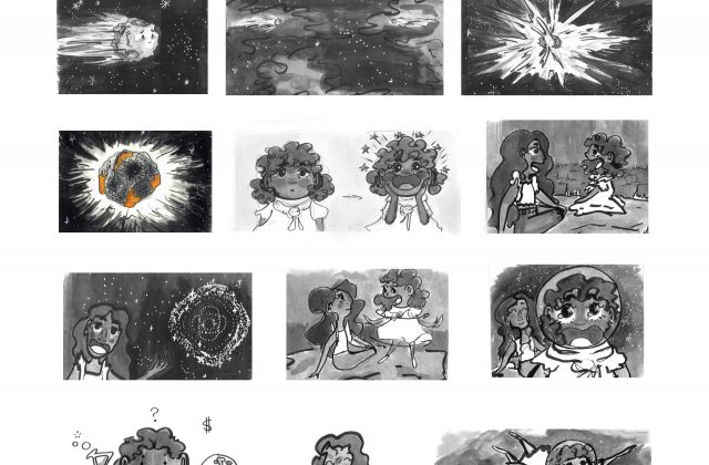 A story board of 13 images 1)A singular lonely asteroid 2)Two asteroids flying towards each other 3)The asteroids collide and create something new 4)Psyche asteroid 5)A little girl with a blank stare 6)little girl smiles in amazement 7-8)older sister talking about psyche with logo in sky 9)little girl get up and spins 10)little girl standing with imaginary astronaut helmet 11)little girl is confused 12)sisters embrace 13)older sister is holding little sister in the sky