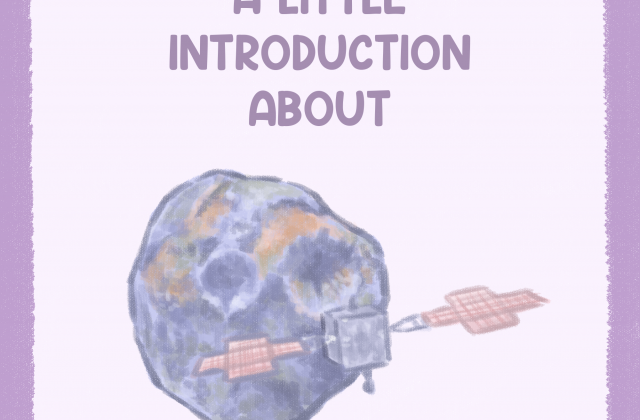 The front cover of the infographic showing the title and drawings of the Psyche asteroid and Psyche spacecraft